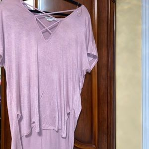 High low tea pink oversized Tee with lace design